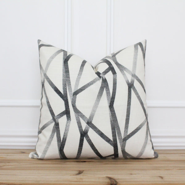 Black Line Geometric Pillow Cover • Modern Throw Pillow Cover • Farmhouse Pillow Cover • Traditional Pillow • Handmade Pillow Cover | London