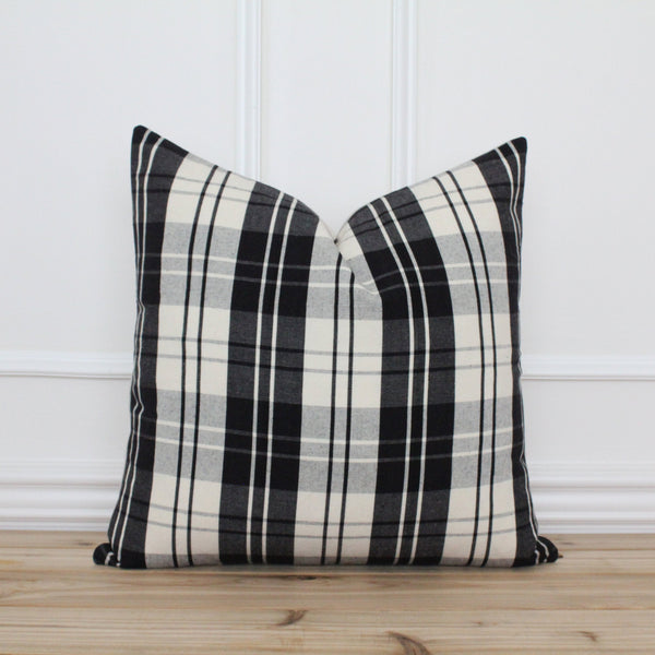 Black Plaid Pillow Cover • Farmhouse Pillow Cover • Modern Pillow Cover • Designer Pillow • Decorative Throw Pillow • Lumbar Pillow | Britt