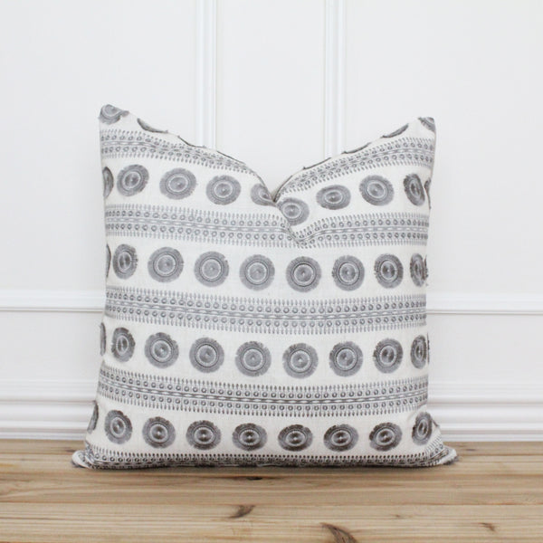 Gray Embroidered Pillow Cover • Grey Farmhouse Pillow Cover • Modern Pillow Cover • Traditional Designer Pillow • Handmade Pillow | Courtney