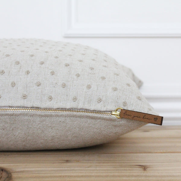 Beige Dot Pillow Cover • Neutral Pillow Covers • Designer Pillows •  Linen Pillow Cover • Decorative Throw Pillow • Textured Pillow | Deanne