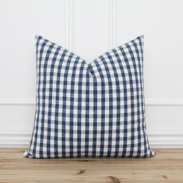 Blue Plaid Pillow Cover • Farmhouse Pillow Cover • Spring Pillow Cover • Traditional Designer Pillow • Handmade Throw Pillow Cover | Lincoln