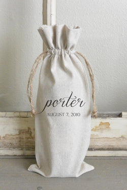Last Name & Wedding Date Wine Bag - Porter Lane Home