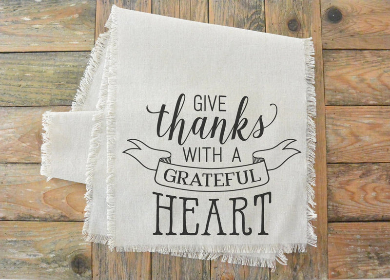 Give Thanks With a Grateful Heart Table Runner_table setting, tableware, place setting, housewarming, dinner, event, thanksgiving, fall - Porter Lane Home