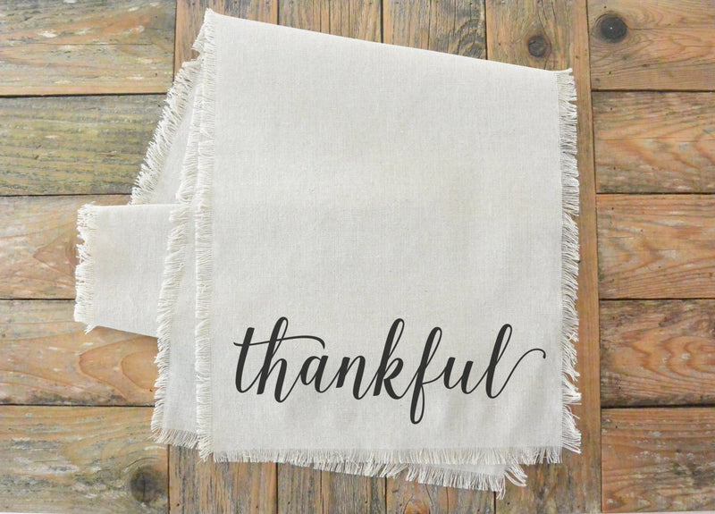 Thankful Table Runner_table setting, tableware, place setting, housewarming, dinner, event, thanksgiving, fall