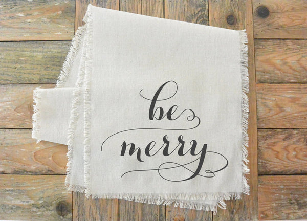 Be Merry Table Runner_Christmas, winter, table setting, tableware, place setting, housewarming gift, party, dinner, event - Porter Lane Home