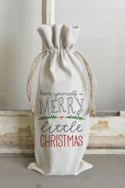 Have Yourself a Merry Little Christmas Wine Bag_holiday, wine, present, party favor, wedding favor, gift bag, party, hostess gift - Porter Lane Home