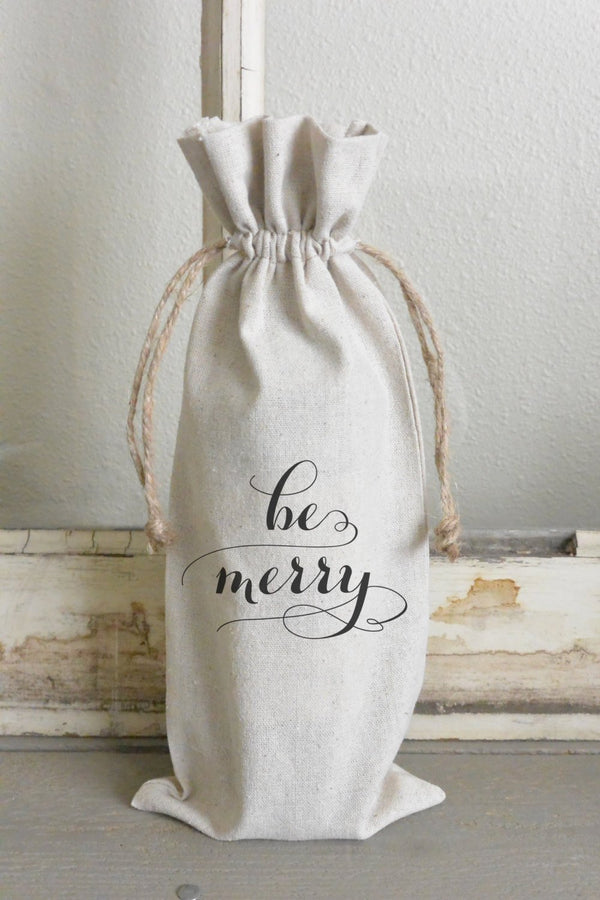Be Merry Wine Bag_holiday, wine, present, party favor, wedding favor, gift bag, party, hostess gift - Porter Lane Home