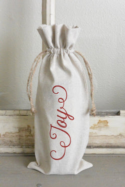 Joy Wine Bag_holiday, wine, present, party favor, wedding favor, gift bag, party, hostess gift - Porter Lane Home
