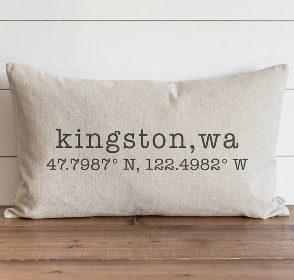 Custom City, State & Coordinates Pillow Cover. - Porter Lane Home