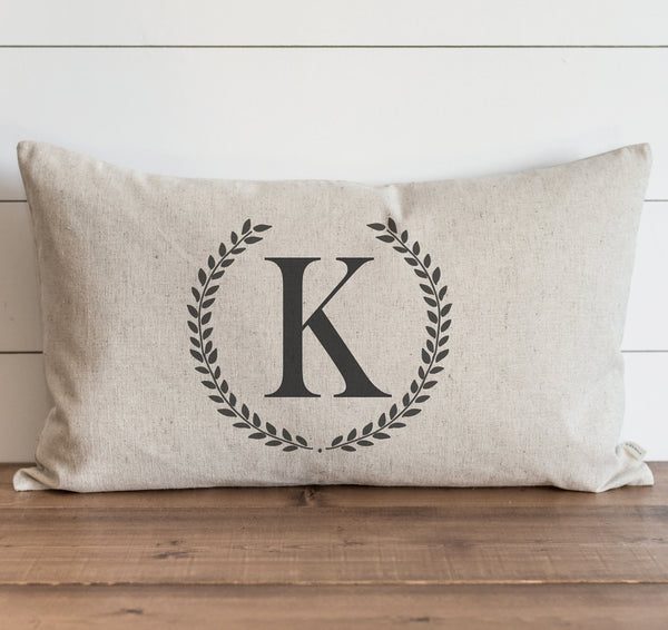 Custom Laurel Wreath Monogram Pillow Cover.