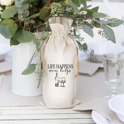 Life Happens Wine Helps Wine Bag - Porter Lane Home