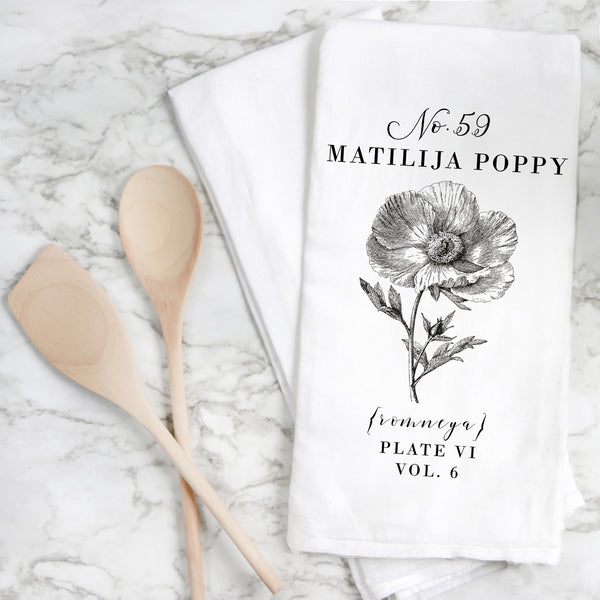 Botanical Matilija Poppy Tea Towel - Porter Lane Home