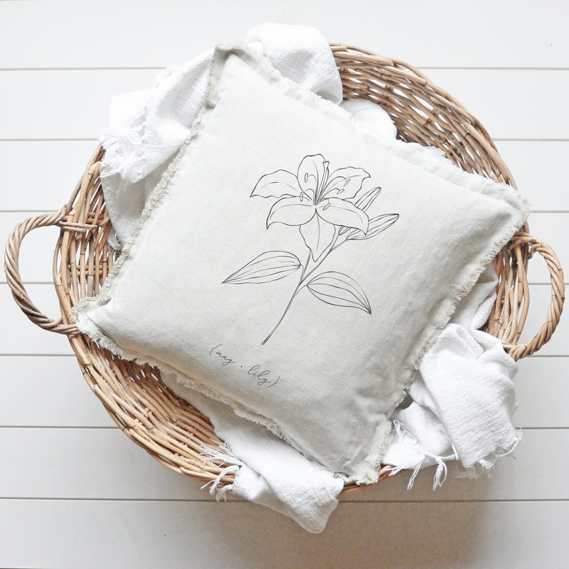 Birth Month Flower Fringe Pillow Cover - Porter Lane Home