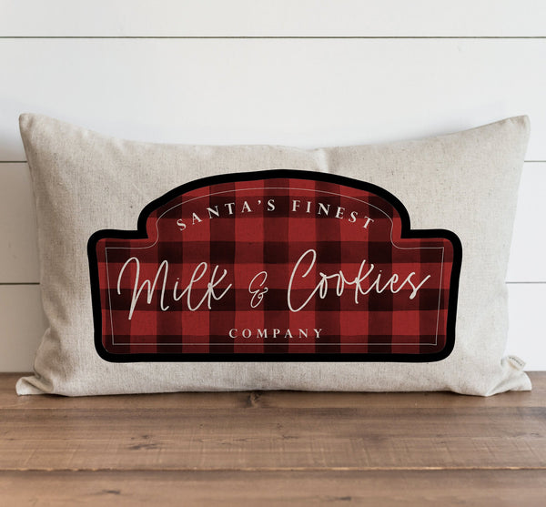 Santa's Finest Milk & Cookie Co. Plaid Pillow Cover. - Porter Lane Home