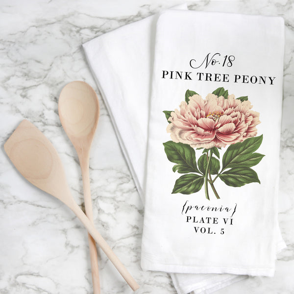 Botanical Pink Tree Peony Tea Towel - Porter Lane Home