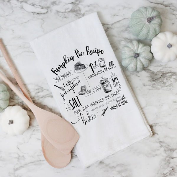 Pumpkin Pie Recipe Tea Towel - Porter Lane Home