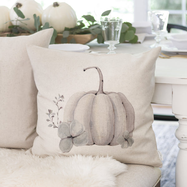 Watercolor Pumpkin Pillow Cover {Style 5}. - Porter Lane Home