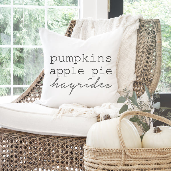 Pumpkins Apple Pie Hayrides Pillow Cover - Porter Lane Home