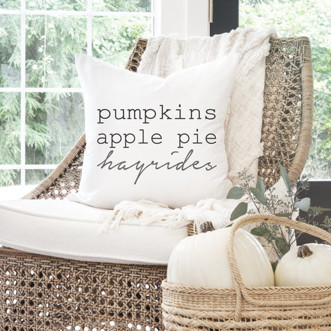 Pumpkins Apple Pie Hayrides 20x20 Pillow Cover gift home decor