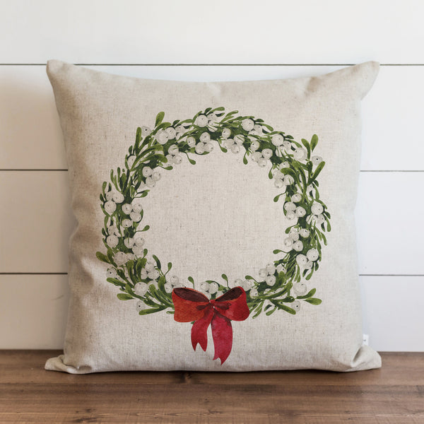 Red Bow Wreath Pillow Cover. - Porter Lane Home