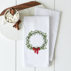 Red Bow Wreath Tea Towel