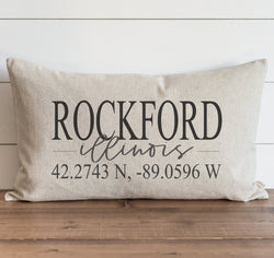Custom City, State & Coordinates {Style 2} Pillow Cover. - Porter Lane Home