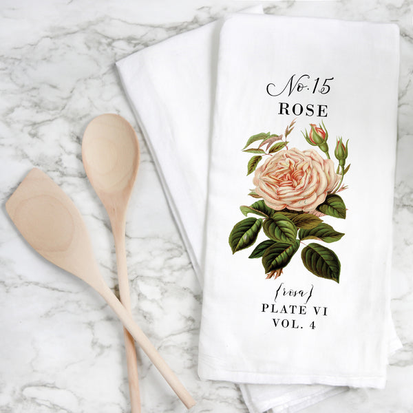 Botanical Rose {Style 1} Tea Towel