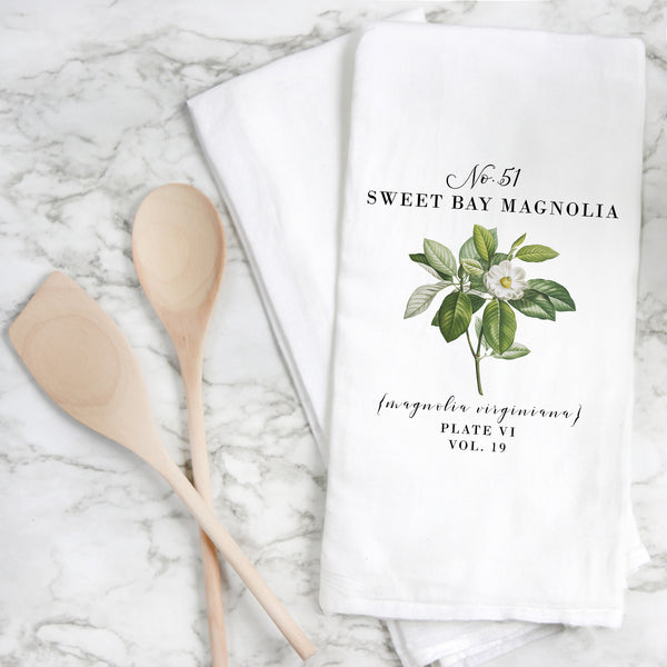 Botanical Sweet Bay Magnolia Tea Towel - Porter Lane Home