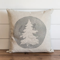 Gray Flocked Tree Pillow Cover. - Porter Lane Home