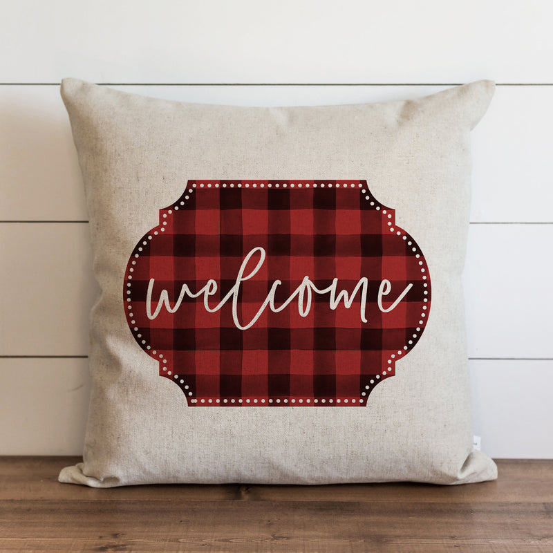 Welcome Buffalo Plaid {Red} Pillow Cover. - Porter Lane Home