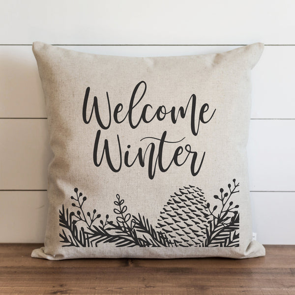 Welcome Winter Pine Cone Pillow Cover. - Porter Lane Home
