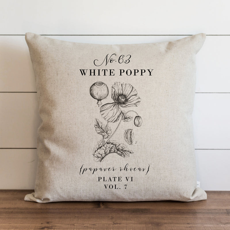 Botanical White Poppy Pillow Cover. - Porter Lane Home
