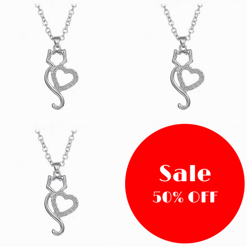 Bundle and Save! 3 Silver Cat Heart Shaped Necklaces – FREE Shipping