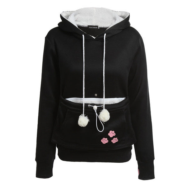 Black or Grey Cat Hoodie with Kangaroo Pouch – FREE Shipping