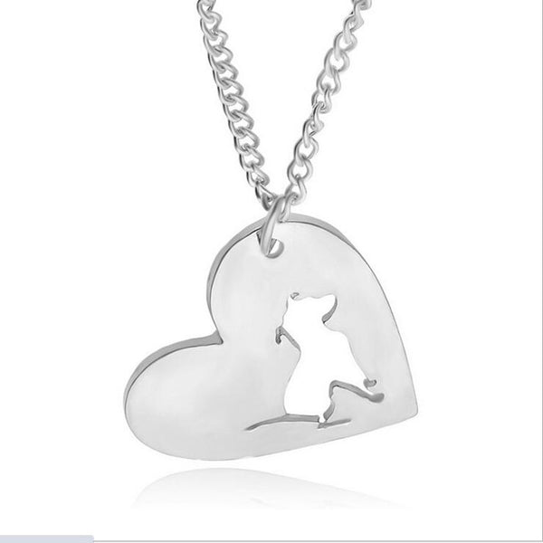 FREE - Silver Pit Bull Heart Necklace