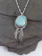 Rose Cut Aqua Chalcedony Tassel Necklace