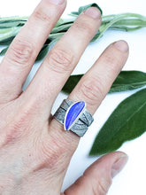 Australian Black Opal Sage Leaf Saddle Ring