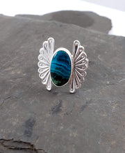 Chrysocolla Stamped Fan Ring