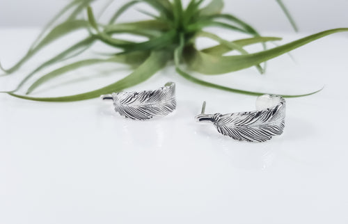 Feather Hoop Stud Earrings