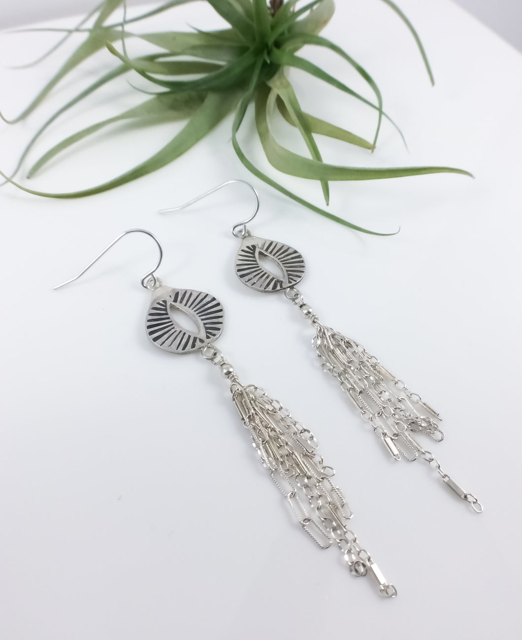 Hand Stamped Oval Drop Tassel Earring