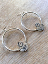 Hand Stamped Silver Hoop Earrings