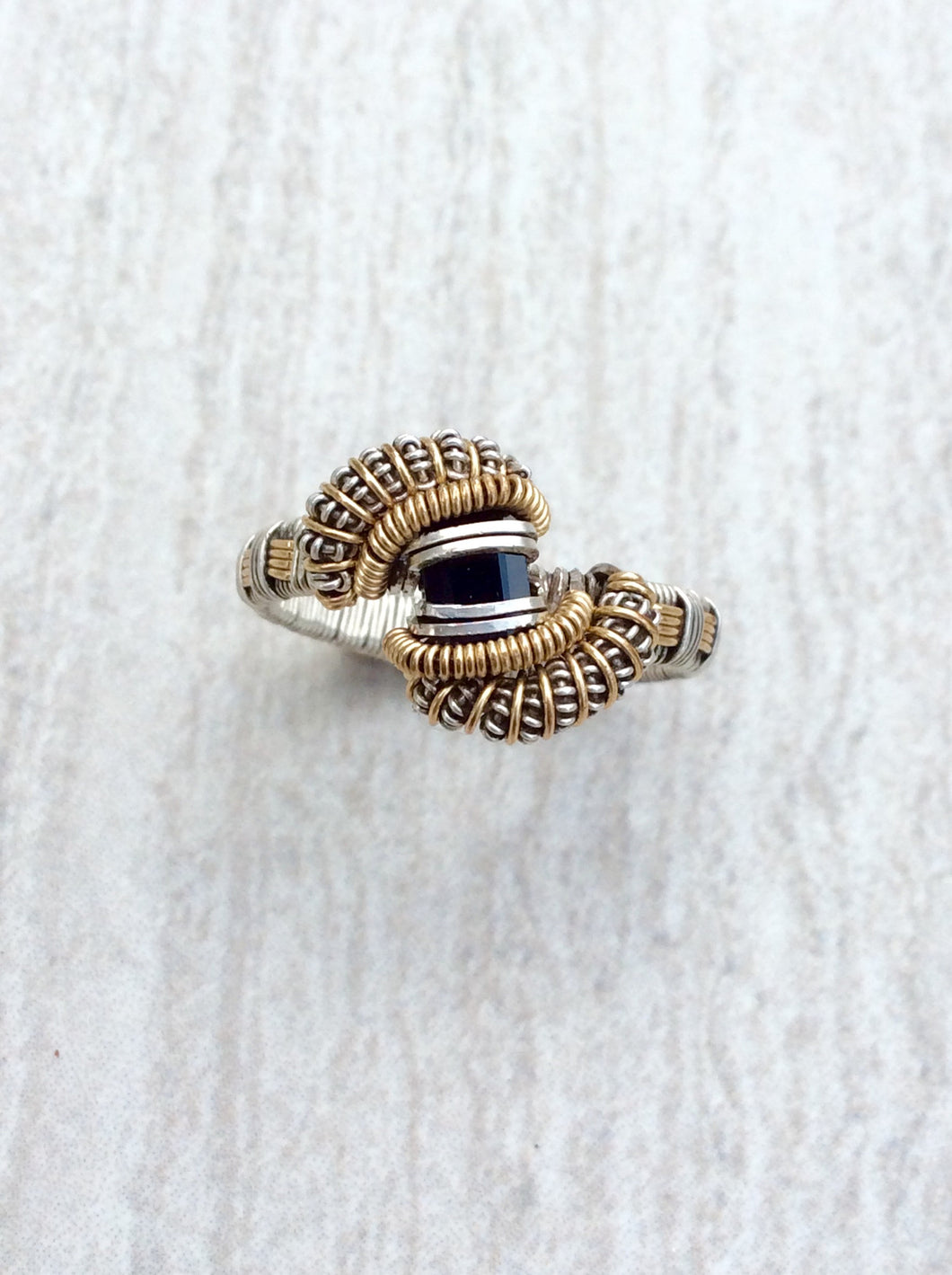 Black Spinel Wire Wrap Ring