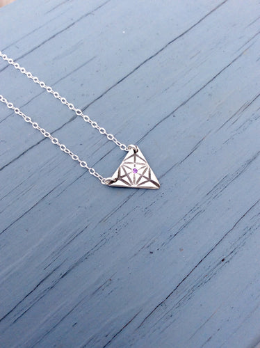 African Amethyst Triangle Merkaba Necklace