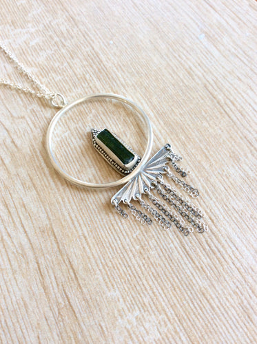 Artisan Green Tourmaline Tassel Necklace