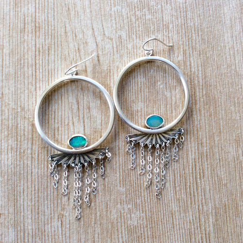Handmade Opal Tassel Hoop Earrings