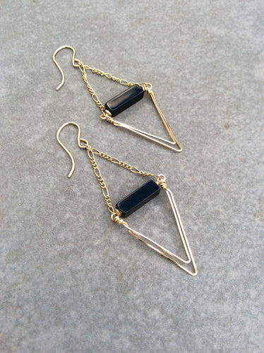 Gold Onyx Diamond Wire Wrapped Earrings
