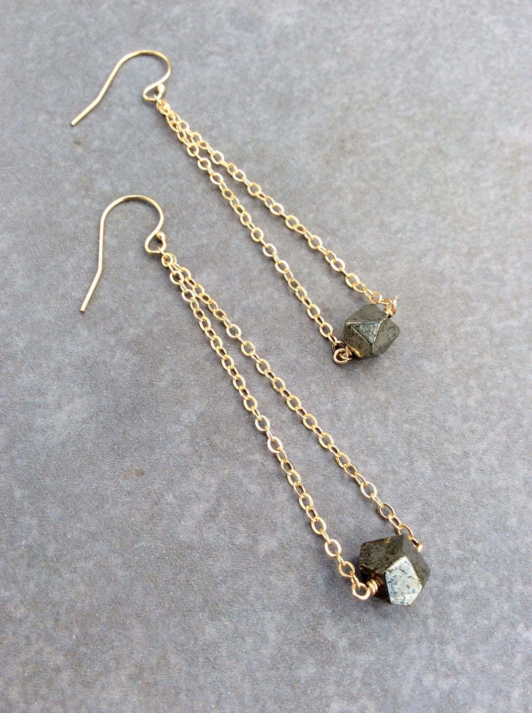 Round Faceted a Pyrite Chandelier Earrings