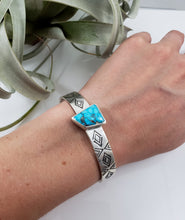 Kingman Turquoise Hand Stamped Cuff Bracelet
