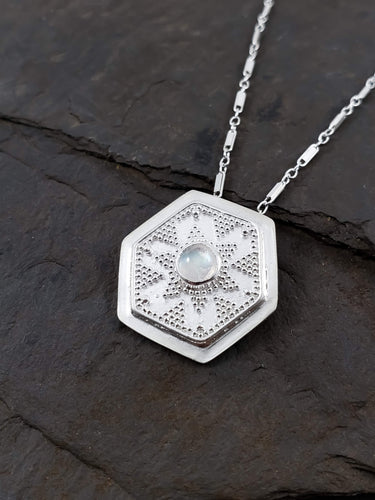Moonstone Hexagon Granulation Necklace