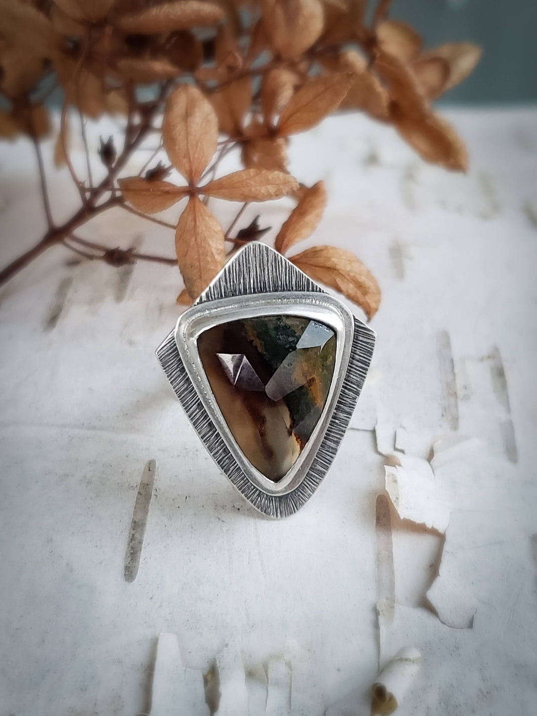 Montana Agate Art Deco Ring